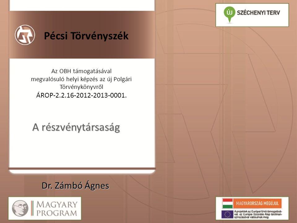 Pécsi Törvényszék Az OBH támogatásával megvalósuló helyi képzés az új Polgári Törvénykönyvről ÁROP-2.2.16-2012-2013-0001. A részvénytársaság Dr. Zámbó