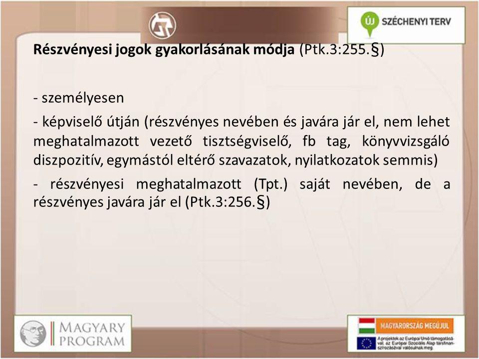 Részvényesi jogok gyakorlásának módja (Ptk.3:255.§) - személyesen - képviselő útján (részvényes nevében és javára jár el, nem lehet meghatalmazott vez
