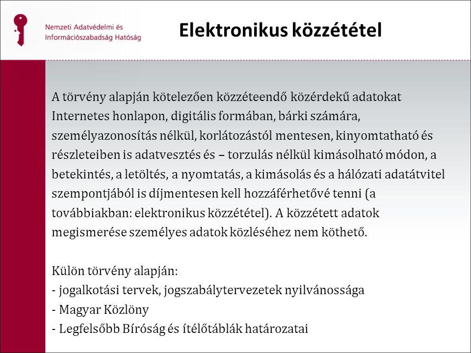 Elektronikus közzététel A törvény alapján kötelezően közzéteendő közérdekű adatokat Internetes honlapon, digitális formában, bárki számára, személyazo