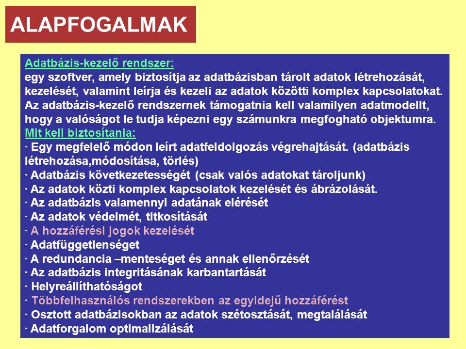 ALAPFOGALMAK Adatbázis-kezelő rendszer: egy szoftver, amely biztosítja az adatbázisban tárolt adatok létrehozását, kezelését, valamint leírja és kezel