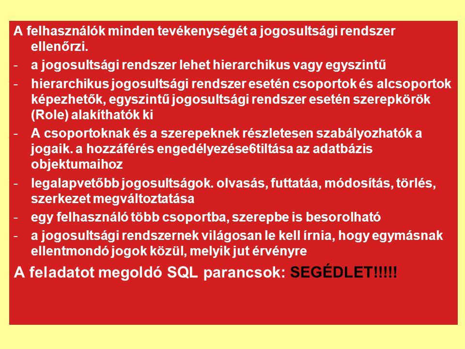 Felhasználói jogosultságok A DCL nyelv a jogok, jogosultságok parancsaira korlátozódik.