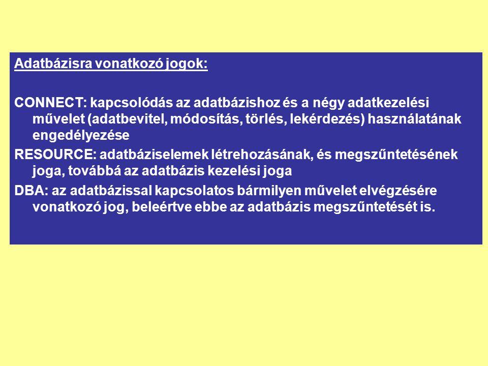 Adatbázisra vonatkozó jogok: CONNECT: kapcsolódás az adatbázishoz és a négy adatkezelési művelet (adatbevitel, módosítás, törlés, lekérdezés) használa