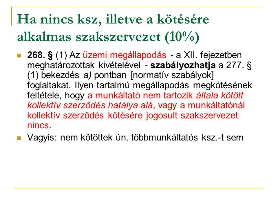 Ha nincs ksz, illetve a kötésére alkalmas szakszervezet (10%) 268. § (1) Az üzemi megállapodás - a XII. fejezetben meghatározottak kivételével - szabá