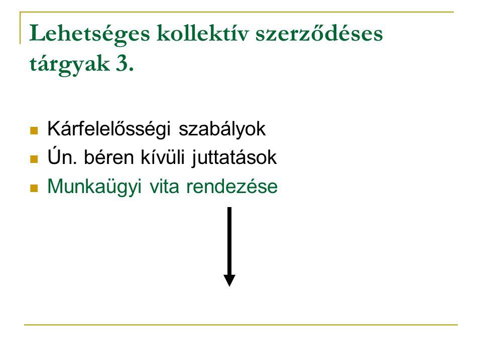 Lehetséges kollektív szerződéses tárgyak 3. Kárfelelősségi szabályok Ún. béren kívüli juttatások Munkaügyi vita rendezése