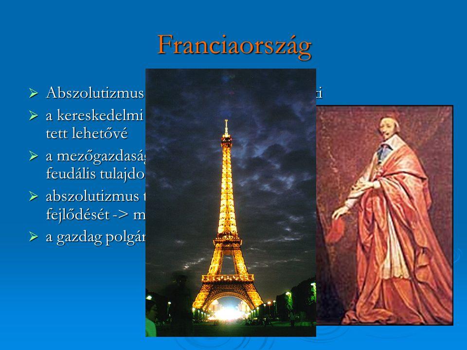 Franciaország  Abszolutizmus => pénzét háborúkra költi  a kereskedelmi forgalom korlátozott tőkefelhalmozódást tett lehetővé  a mezőgazdasági struk