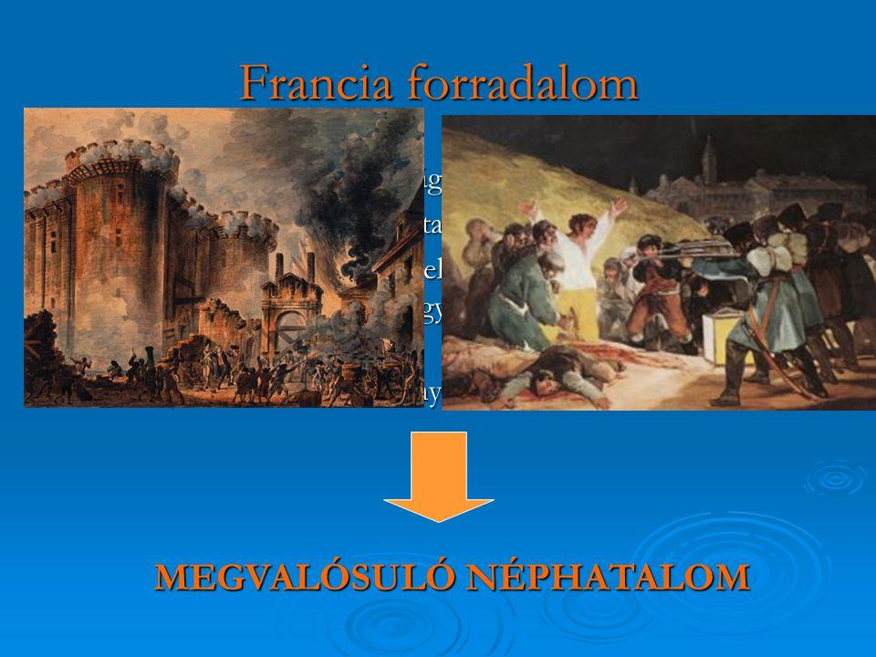 Francia forradalom  a 1789 május 4 : rendi országgyűlés összehívása  a polgárság előretörését mutatja, hogy a király kénytelen volt beleegyezni, h a