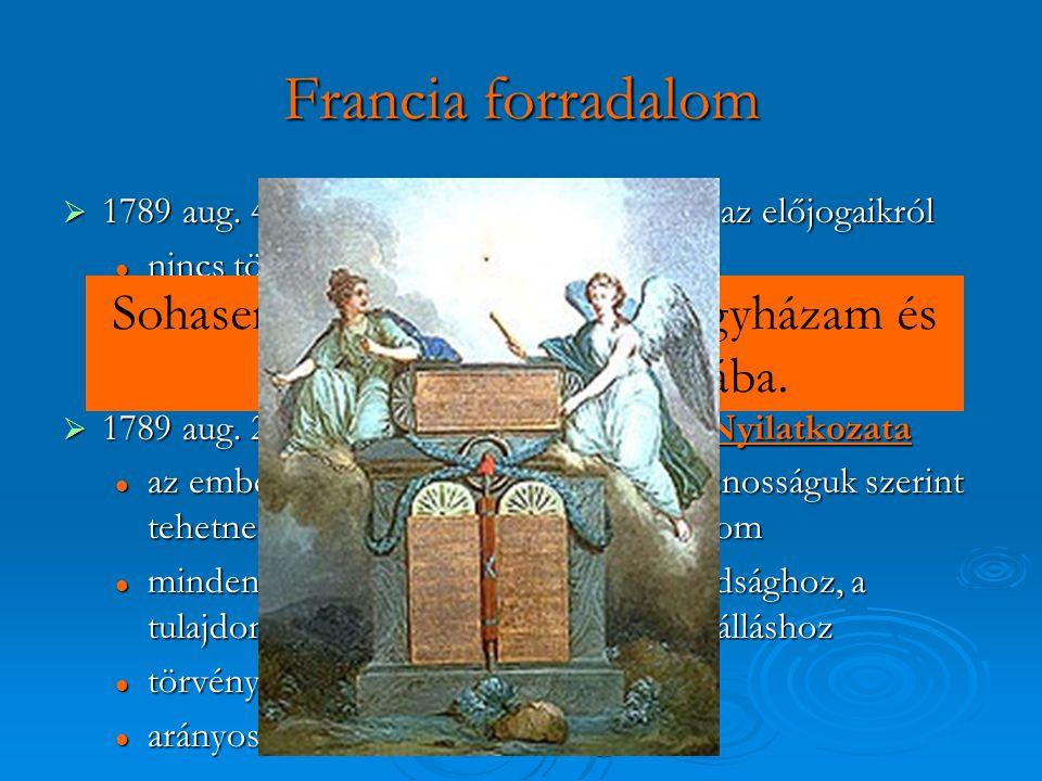 Francia forradalom  1789 aug. 4. : a kiváltságosok lemondanak az előjogaikról nincs többé papi tized nincs többé papi tized a városok megváltak feudá