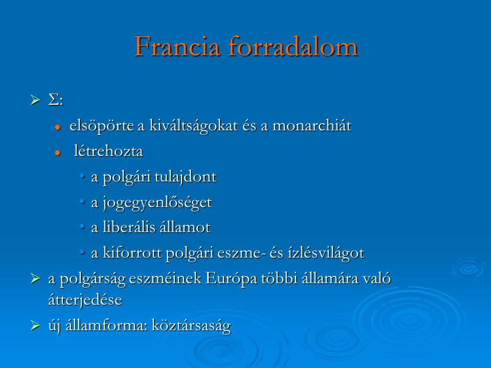 Francia forradalom  Σ: elsöpörte a kiváltságokat és a monarchiát elsöpörte a kiváltságokat és a monarchiát létrehozta létrehozta a polgári tulajdonta
