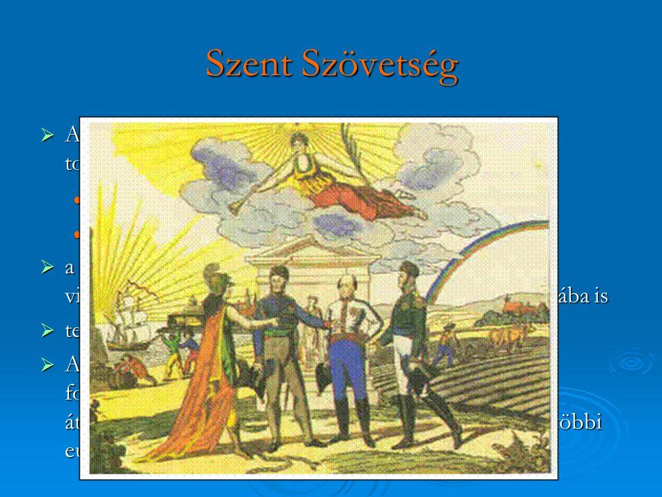 Szent Szövetség  Az átalakulások, forradalmak a kontinensen való továbbterjedését próbálta megakadályozni forradalmak leverése forradalmak leverése f