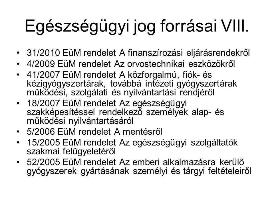Egészségügyi jog forrásai VIII. 31/2010 EüM rendelet A finanszírozási eljárásrendekről 4/2009 EüM rendelet Az orvostechnikai eszközökről 41/2007 EüM r