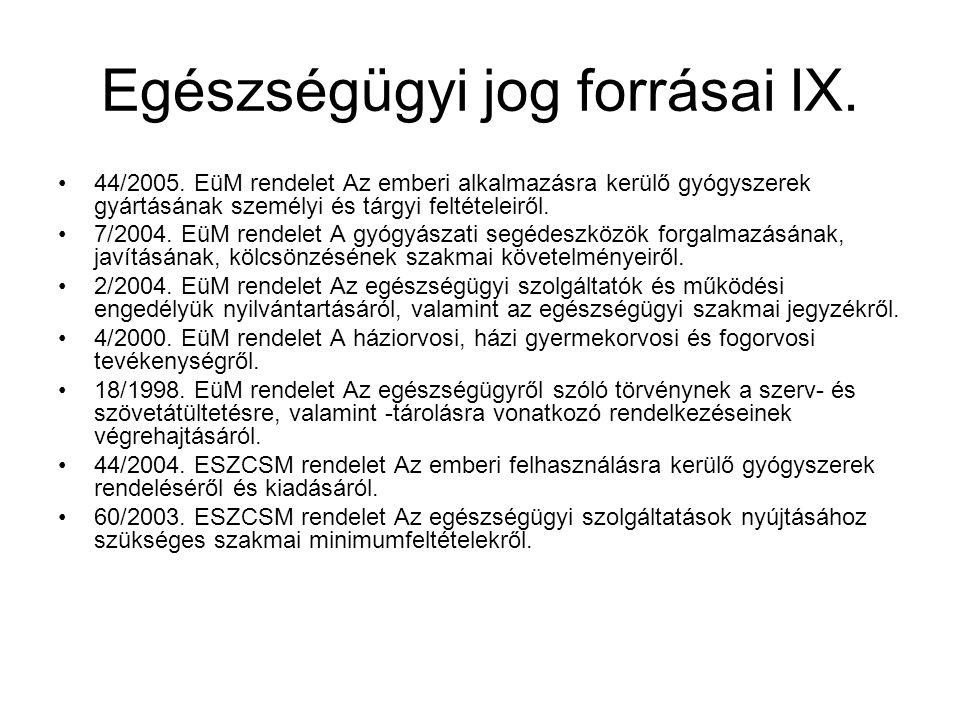 Egészségügyi jog forrásai IX. 44/2005. EüM rendelet Az emberi alkalmazásra kerülő gyógyszerek gyártásának személyi és tárgyi feltételeiről. 7/2004. Eü