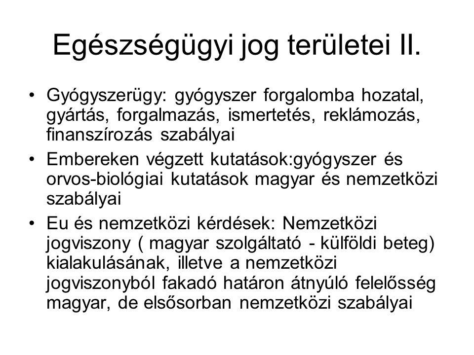 Egészségügyi jog forrásai VI.372/2011. Korm.