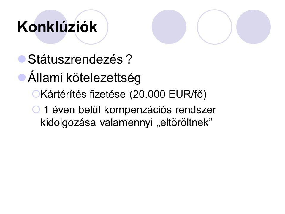 """Konklúziók Státuszrendezés ? Állami kötelezettség  Kártérítés fizetése (20.000 EUR/fő)  1 éven belül kompenzációs rendszer kidolgozása valamennyi """"e"""