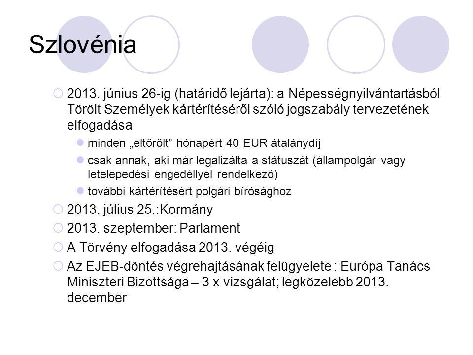 Szlovénia  2013. június 26-ig (határidő lejárta): a Népességnyilvántartásból Törölt Személyek kártérítéséről szóló jogszabály tervezetének elfogadása