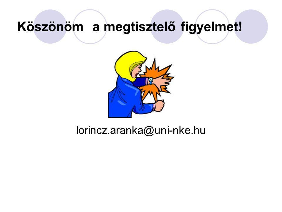 Köszönöm a megtisztelő figyelmet! lorincz.aranka@uni-nke.hu