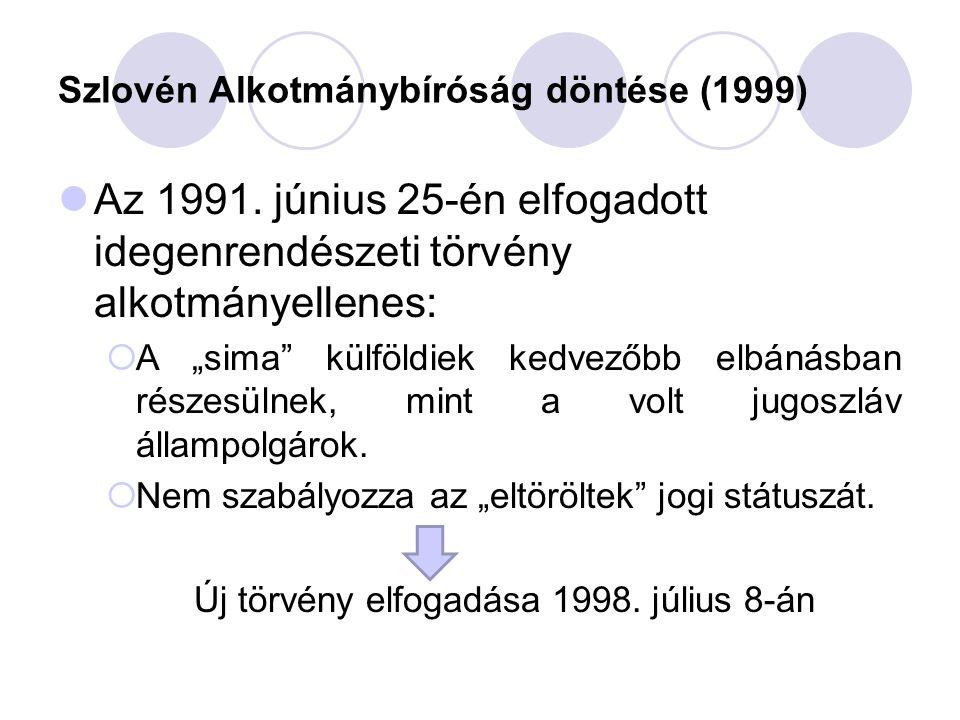 """Szlovén Alkotmánybíróság döntése (1999) Az 1991. június 25-én elfogadott idegenrendészeti törvény alkotmányellenes:  A """"sima"""" külföldiek kedvezőbb el"""