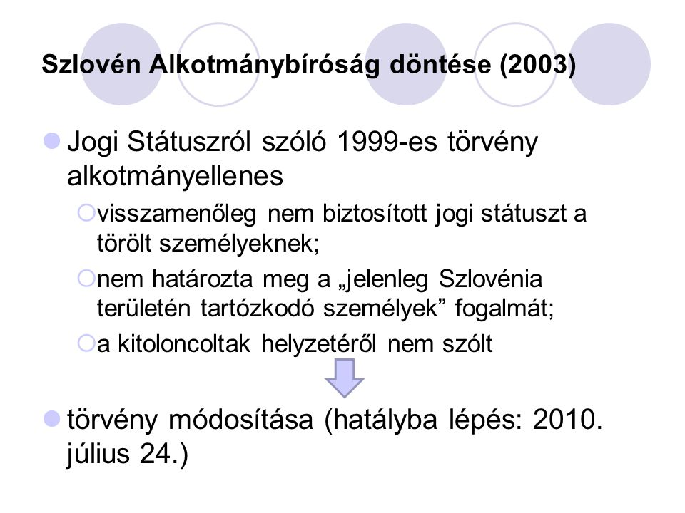 Szlovén Alkotmánybíróság döntése (2003) Jogi Státuszról szóló 1999-es törvény alkotmányellenes  visszamenőleg nem biztosított jogi státuszt a törölt