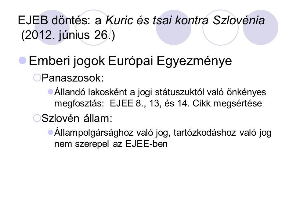 EJEB döntés: a Kuric és tsai kontra Szlovénia (2012. június 26.) Emberi jogok Európai Egyezménye  Panaszosok: Állandó lakosként a jogi státuszuktól v