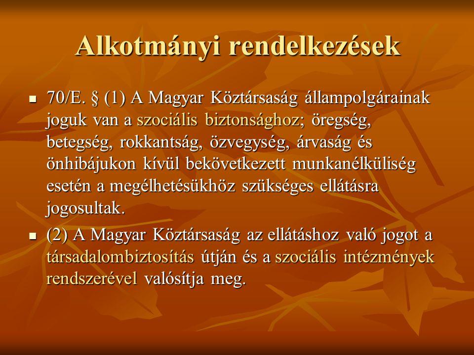 Alkotmányi rendelkezések 70/E. § (1) A Magyar Köztársaság állampolgárainak joguk van a szociális biztonsághoz; öregség, betegség, rokkantság, özvegysé