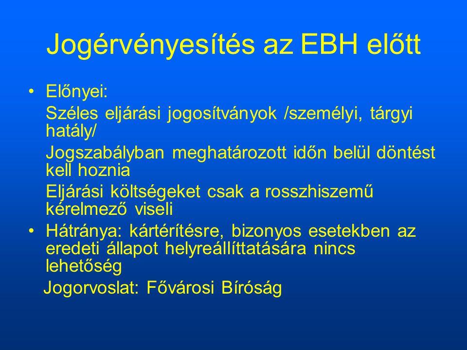 Jogérvényesítés az EBH előtt Előnyei: Széles eljárási jogosítványok /személyi, tárgyi hatály/ Jogszabályban meghatározott időn belül döntést kell hoznia Eljárási költségeket csak a rosszhiszemű kérelmező viseli Hátránya: kártérítésre, bizonyos esetekben az eredeti állapot helyreállíttatására nincs lehetőség Jogorvoslat: Fővárosi Bíróság