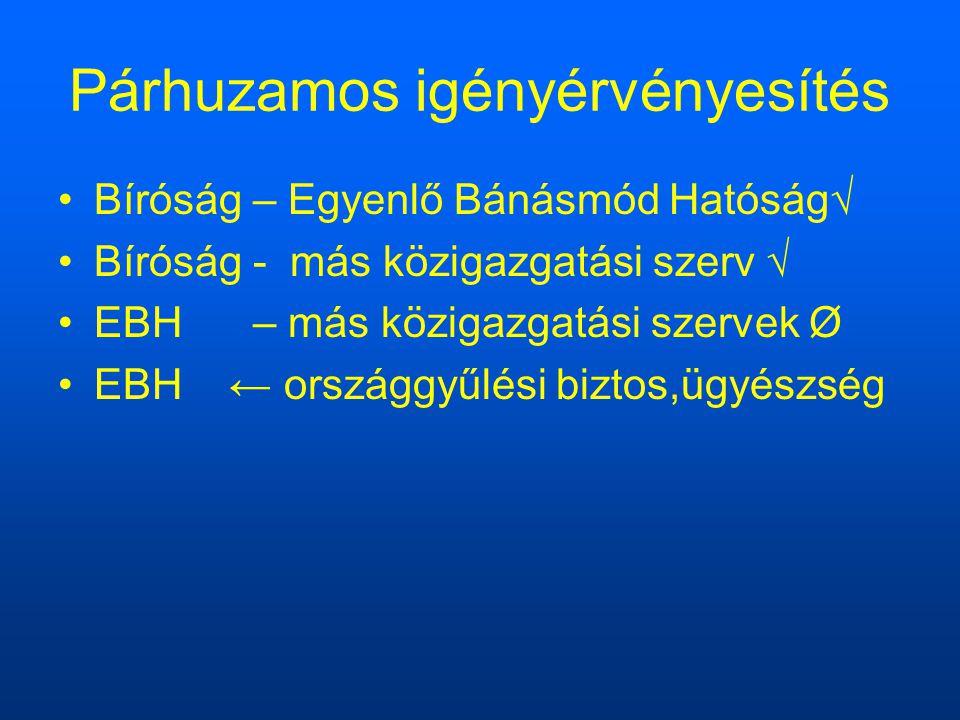 Párhuzamos igényérvényesítés Bíróság – Egyenlő Bánásmód Hatóság√ Bíróság - más közigazgatási szerv √ EBH – más közigazgatási szervek Ø EBH ← országgyűlési biztos,ügyészség