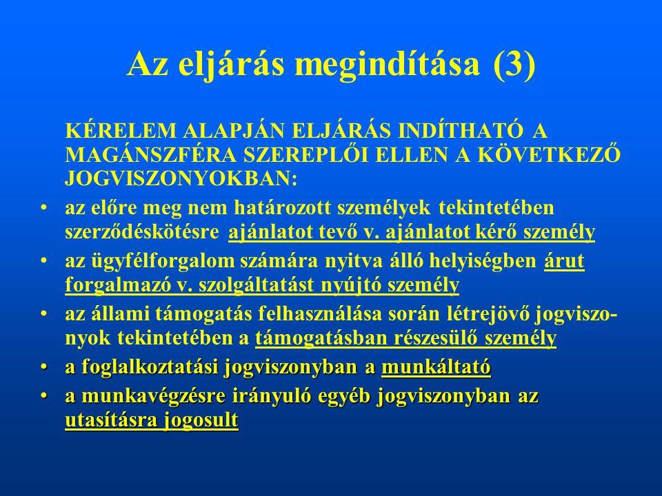 Az eljárás megindítása (3) KÉRELEM ALAPJÁN ELJÁRÁS INDÍTHATÓ A MAGÁNSZFÉRA SZEREPLŐI ELLEN A KÖVETKEZŐ JOGVISZONYOKBAN: az előre meg nem határozott személyek tekintetében szerződéskötésre ajánlatot tevő v.