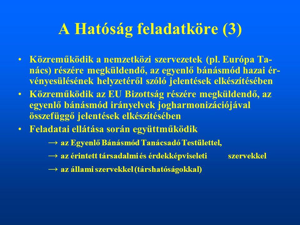 A Hatóság feladatköre (3) Közreműködik a nemzetközi szervezetek (pl. Európa Ta- nács) részére megküldendő, az egyenlő bánásmód hazai ér- vényesüléséne