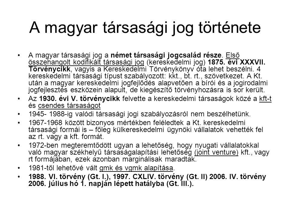 A magyar társasági jog története A magyar társasági jog a német társasági jogcsalád része. Első összehangolt kodifikált társasági jog (kereskedelmi jo