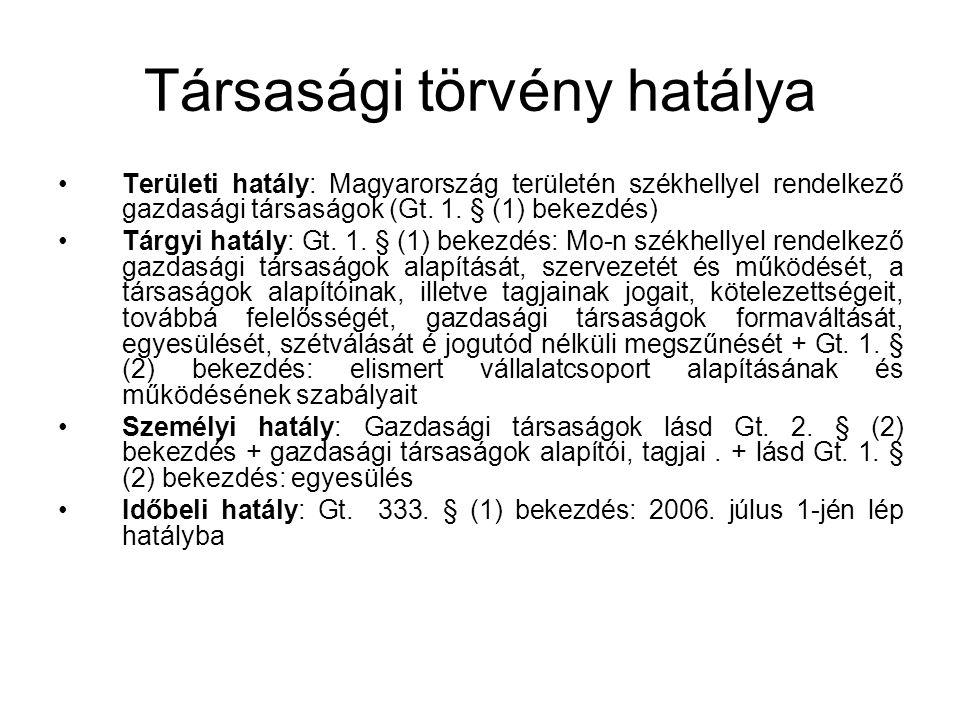 Társasági törvény hatálya Területi hatály: Magyarország területén székhellyel rendelkező gazdasági társaságok (Gt. 1. § (1) bekezdés) Tárgyi hatály: G