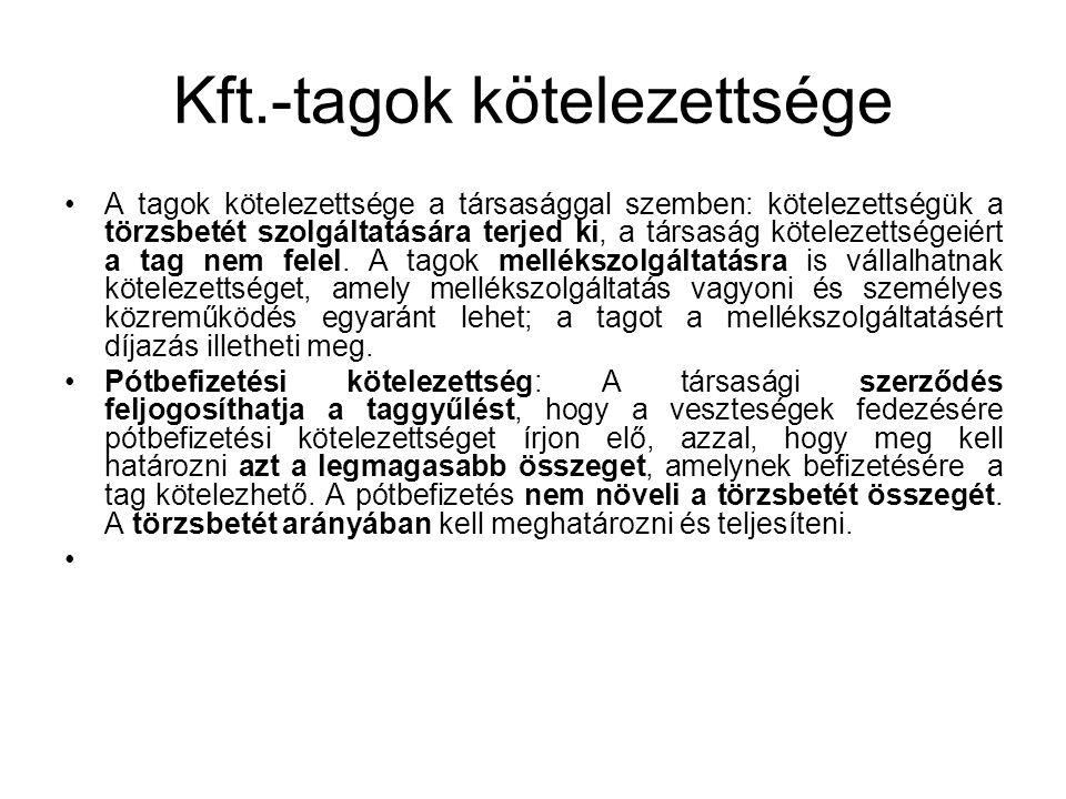Kft.-tagok kötelezettsége A tagok kötelezettsége a társasággal szemben: kötelezettségük a törzsbetét szolgáltatására terjed ki, a társaság kötelezetts