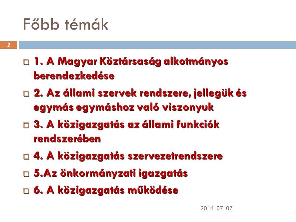Főbb témák  1.A Magyar Köztársaság alkotmányos berendezkedése  2.