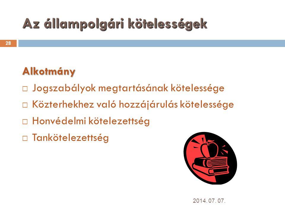 Az állampolgári kötelességek 28 Alkotmány  Jogszabályok megtartásának kötelessége  Közterhekhez való hozzájárulás kötelessége  Honvédelmi kötelezettség  Tankötelezettség 2014.