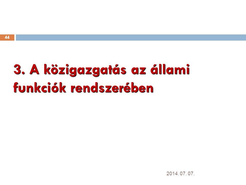 3. A közigazgatás az állami funkciók rendszerében 44 2014. 07. 07.