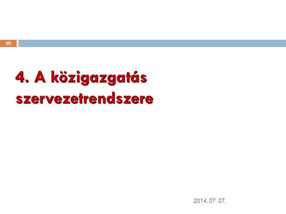 4. A közigazgatás szervezetrendszere 50 2014. 07. 07.
