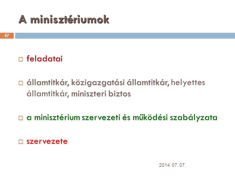 A minisztériumok 57  feladatai  államtitkár, közigazgatási államtitkár, miniszteri biztos  államtitkár, közigazgatási államtitkár, helyettes államtitkár, miniszteri biztos  a minisztérium szervezeti és működési szabályzata  szervezete 2014.