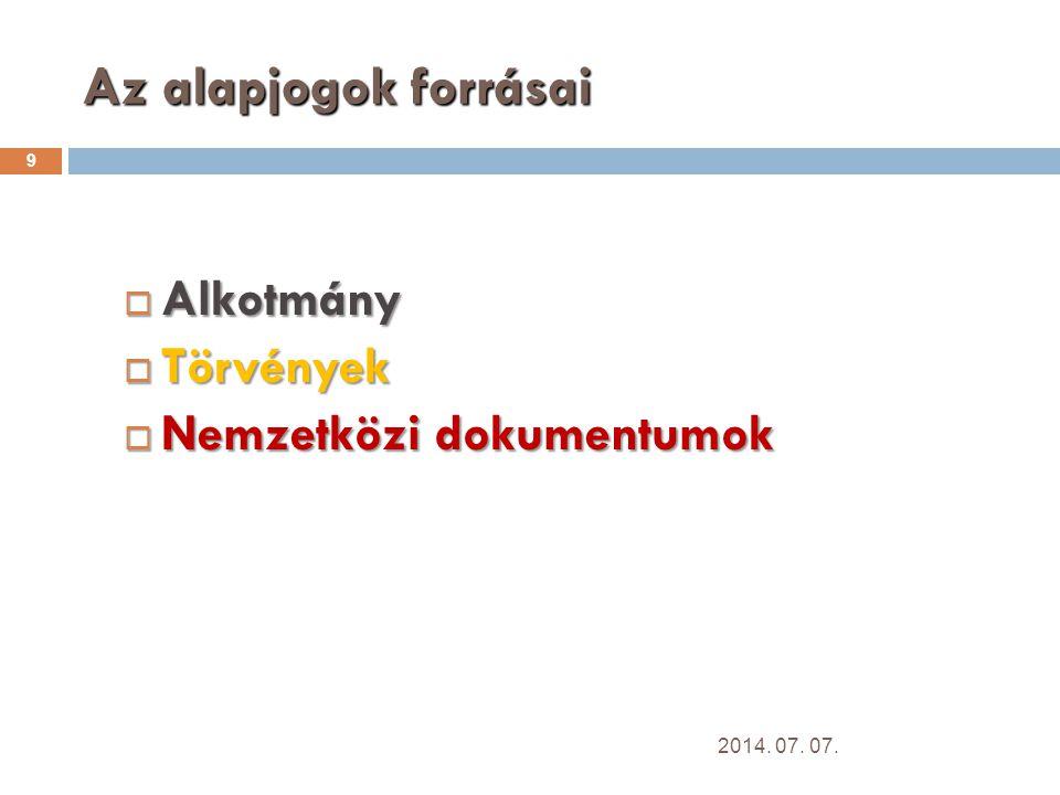 Az alapjogok forrásai 9  Alkotmány  Törvények  Nemzetközi dokumentumok 2014. 07. 07.