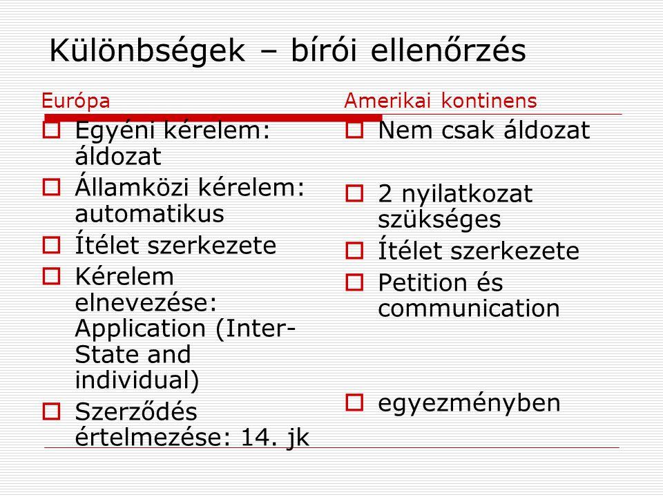 Különbségek – bírói ellenőrzés Európa  Egyéni kérelem: áldozat  Államközi kérelem: automatikus  Ítélet szerkezete  Kérelem elnevezése: Application (Inter- State and individual)  Szerződés értelmezése: 14.