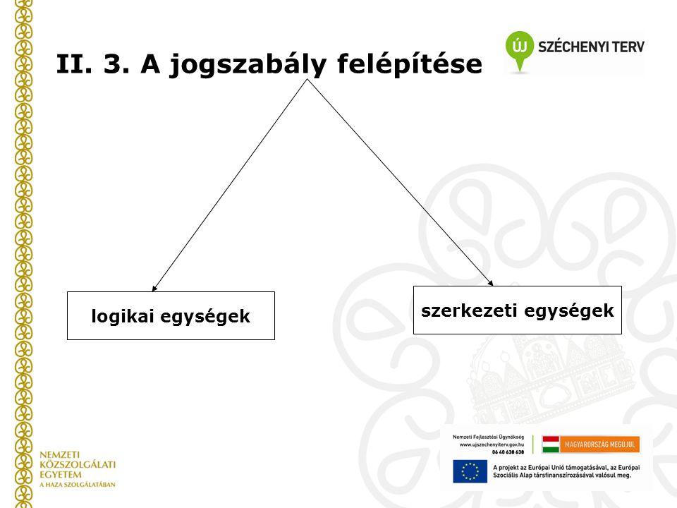 II. 3. A jogszabály felépítése logikai egységek szerkezeti egységek