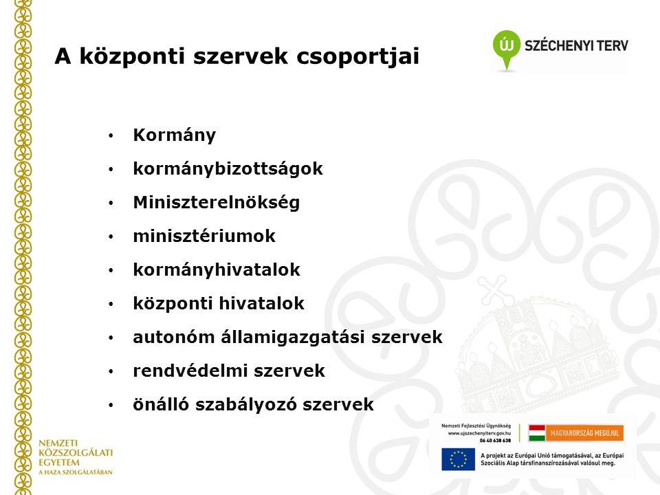 A központi szervek csoportjai Kormány kormánybizottságok Miniszterelnökség minisztériumok kormányhivatalok központi hivatalok autonóm államigazgatási