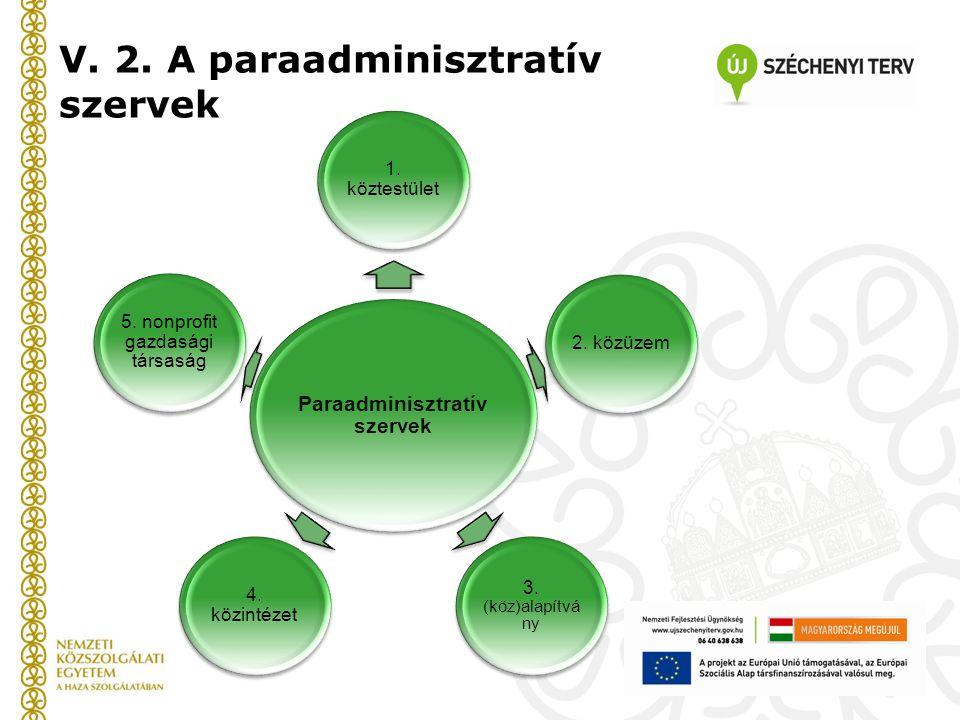 V. 2. A paraadminisztratív szervek Paraadminisztratív szervek 1. köztestület 2. közüzem 3. (köz)alapítvá ny 4. közintézet 5. nonprofit gazdasági társa