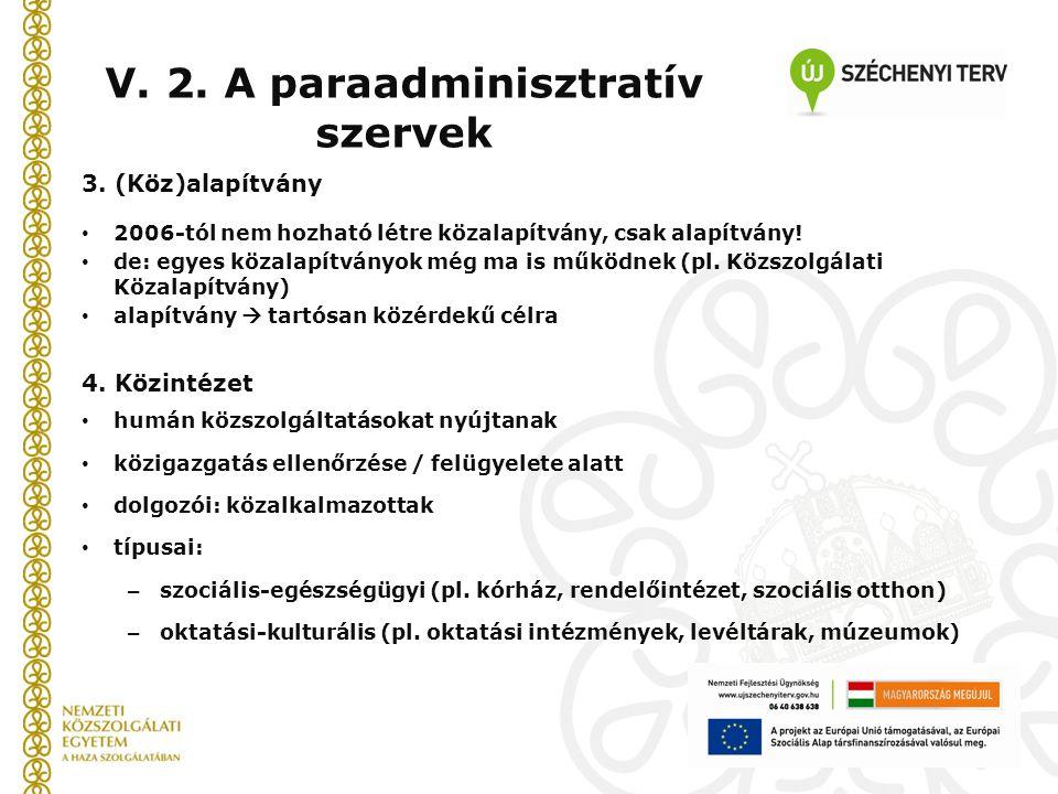 3. (Köz)alapítvány 2006-tól nem hozható létre közalapítvány, csak alapítvány! de: egyes közalapítványok még ma is működnek (pl. Közszolgálati Közalapí
