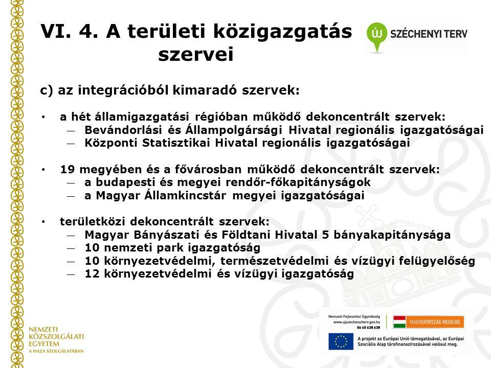 VI. 4. A területi közigazgatás szervei c) az integrációból kimaradó szervek: a hét államigazgatási régióban működő dekoncentrált szervek: ― Bevándorlá