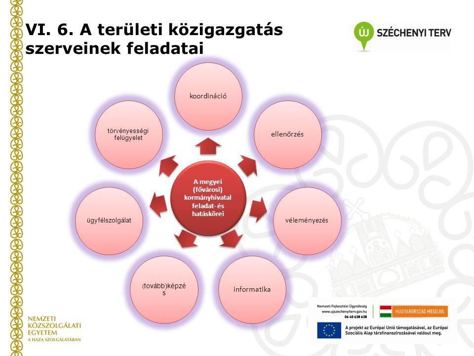 VI. 6. A területi közigazgatás szerveinek feladatai A megyei (fővárosi) kormányhivatal feladat- és hatáskörei koordinációellenőrzés véleményezés infor
