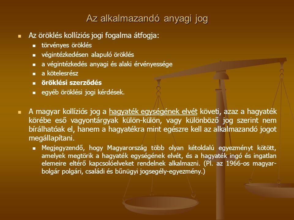 Az alkalmazandó anyagi jog Az öröklés kollíziós jogi fogalma átfogja: törvényes öröklés végintézkedésen alapuló öröklés a végintézkedés anyagi és alak