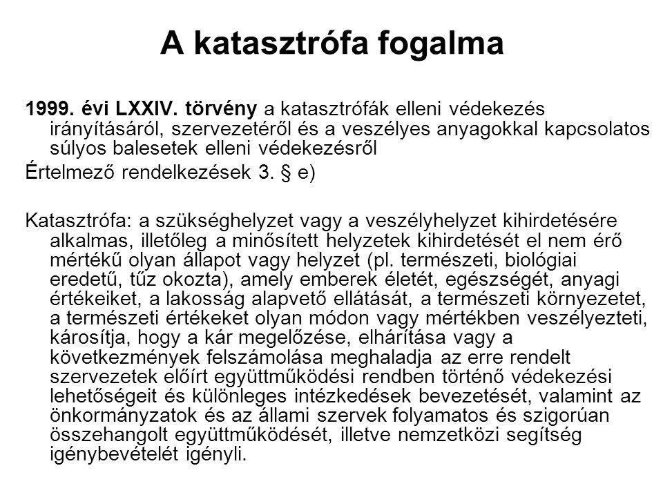 A katasztrófa fogalma 1999. évi LXXIV. törvény a katasztrófák elleni védekezés irányításáról, szervezetéről és a veszélyes anyagokkal kapcsolatos súly