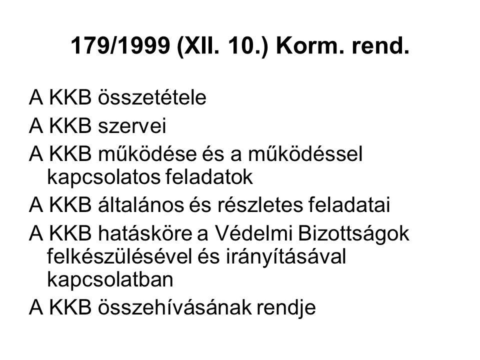 179/1999 (XII. 10.) Korm. rend. A KKB összetétele A KKB szervei A KKB működése és a működéssel kapcsolatos feladatok A KKB általános és részletes fela