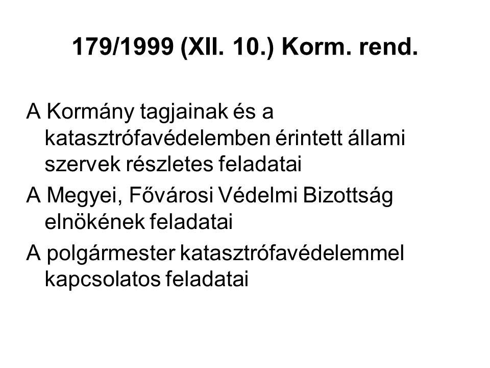 179/1999 (XII. 10.) Korm. rend. A Kormány tagjainak és a katasztrófavédelemben érintett állami szervek részletes feladatai A Megyei, Fővárosi Védelmi