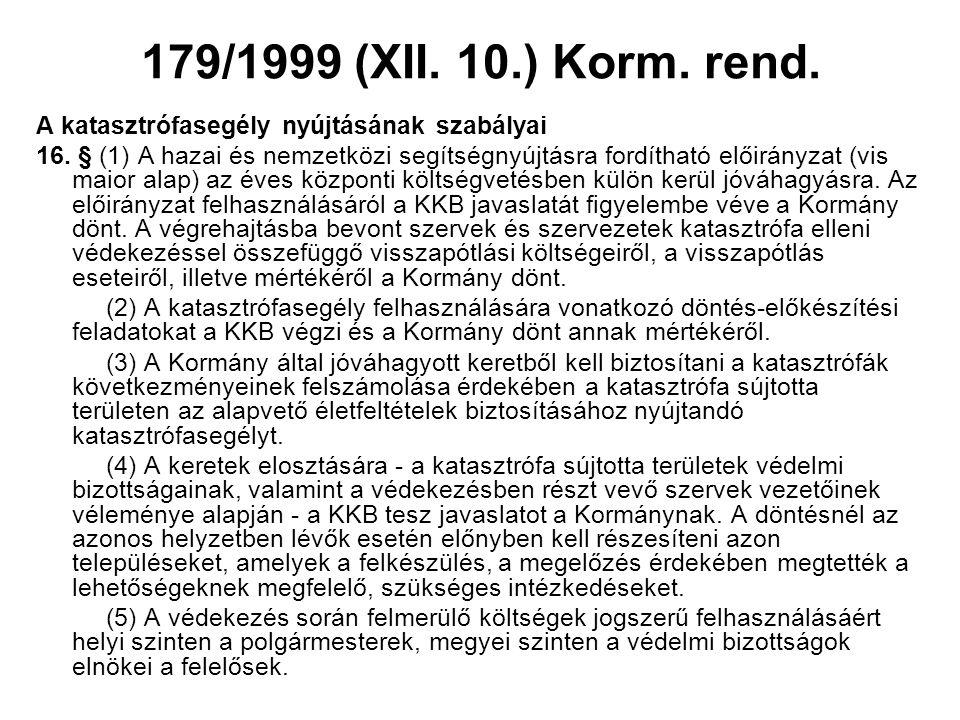 179/1999 (XII. 10.) Korm. rend. A katasztrófasegély nyújtásának szabályai 16. § (1) A hazai és nemzetközi segítségnyújtásra fordítható előirányzat (vi