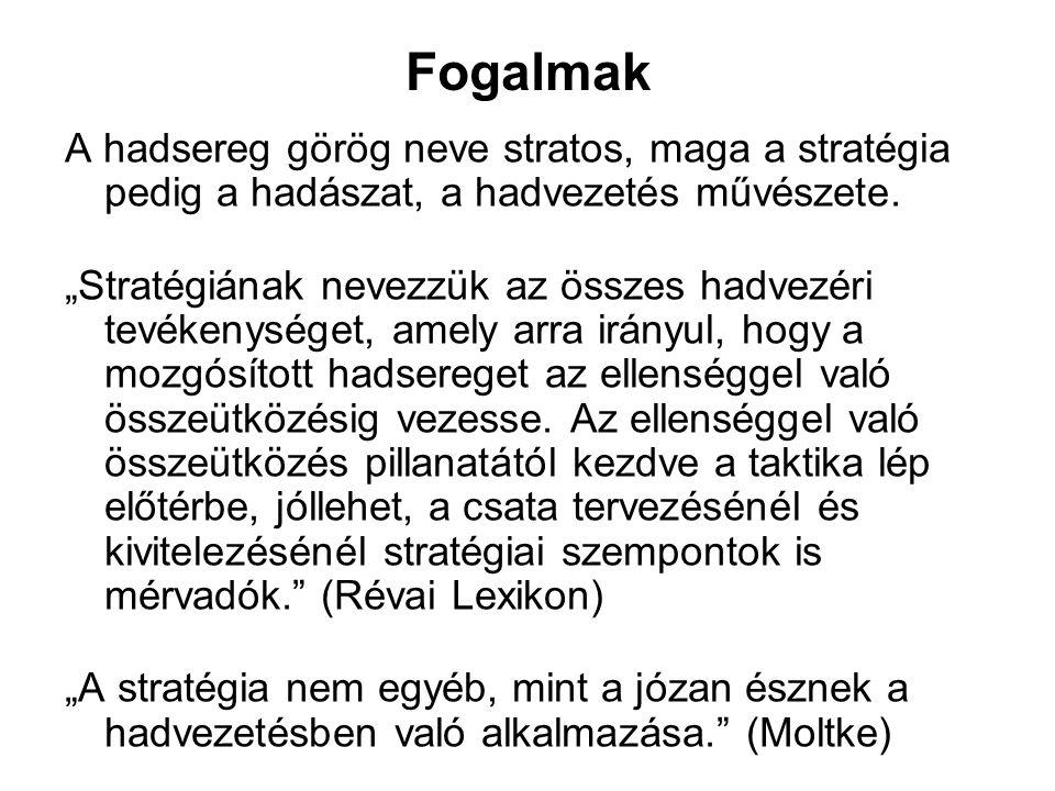 """Fogalmak A hadsereg görög neve stratos, maga a stratégia pedig a hadászat, a hadvezetés művészete. """"Stratégiának nevezzük az összes hadvezéri tevékeny"""