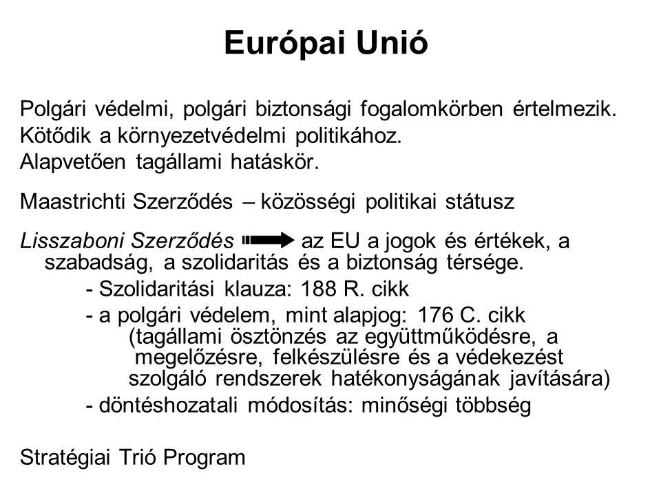 Európai Unió Polgári védelmi, polgári biztonsági fogalomkörben értelmezik. Kötődik a környezetvédelmi politikához. Alapvetően tagállami hatáskör. Maas